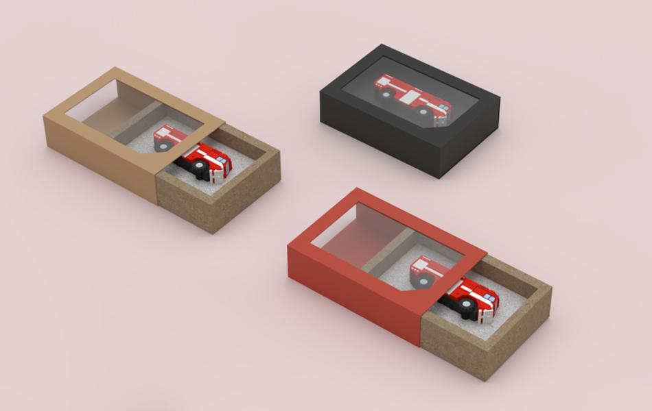 vysouvací kartonové balení na usb disky na míru s průhledným okénkem